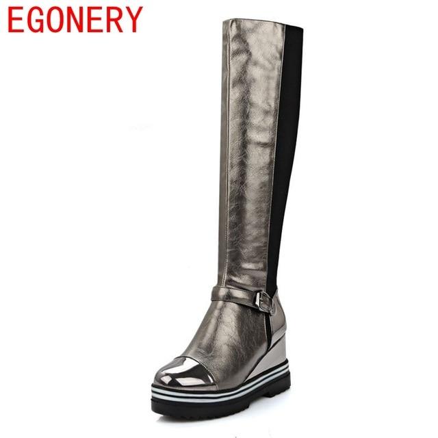EGONERY/Обувь 2017 женские сапоги до колена классические черные с круглым носком удобные высококачественные короткие плюшевые модные сапоги для верховой езды
