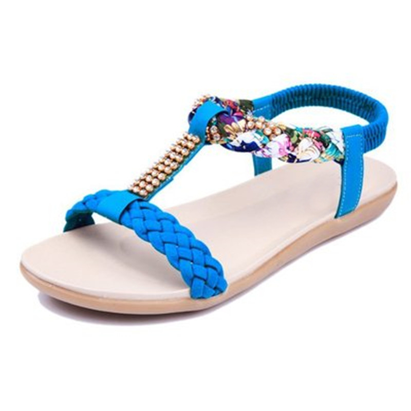 FUNMARS.T Women Sandals  Summer Beach Shoes Women Flats Sandals Ladies Flat Sandals free shipping candy color women garden shoes breathable women beach shoes hsa21