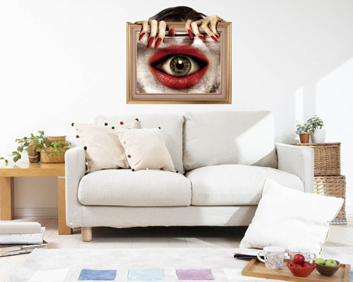Free Shipping The eye Horror 3D wall Art decals removable wallpaper ...
