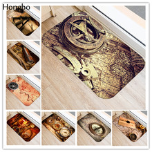 Hongbo Compass Nautical Map Door Mats Telescope Pattern Kitchen Floor Bath Entrance Rug Mat Absorbent Indoor