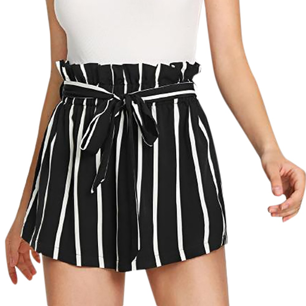 Sleeper#401 2019 NEW FASHION Women Short Retro Stripe Casual Fit Elastic Waist Pocket Shorts With String Summer Free Shipping