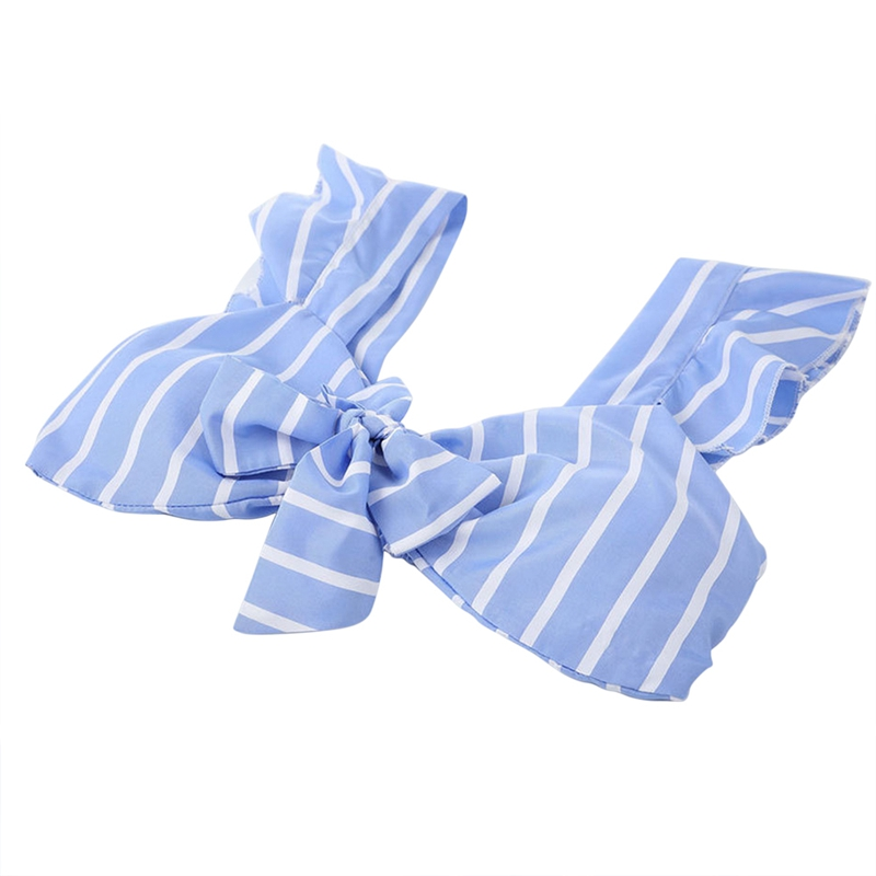 Striped Strapless Cropped Tops Female Sexy Tank Women Tops Bow Tie Ruffles Short Top Fashion Cloth Womens T-shirts