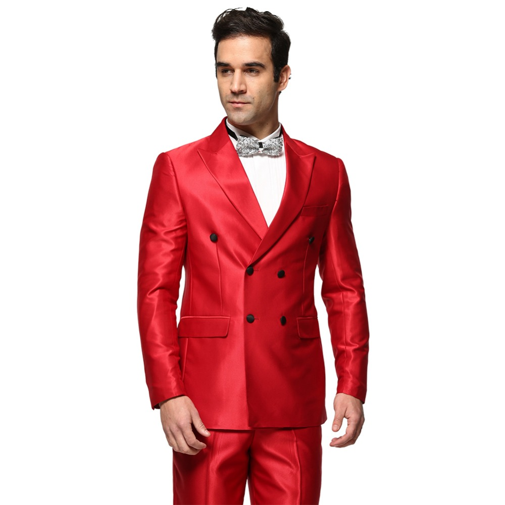 Men Suit 2016 New Shiny Red Double Breasted Men's Business Wedding ...