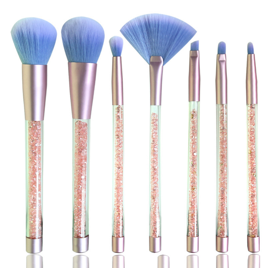 7 pcs/set Glitter Diamond Crystal Handle Makeup Brushes Set Powder Foundation Eyebrow Face Make Up Set Brush Cosmetic Tool Kit aquarium liquid glitter brush set mermaid makeup brushes bling bling glitter handle make up brush kit pincel sereia maquiagem