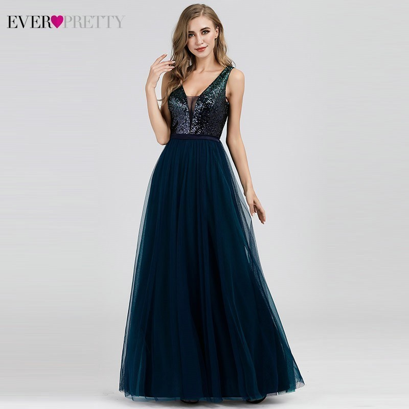 Navy Blue Bridesmaid Dresses Ever Pretty A-Line V-Neck Sequined Sexy Long Dress For Wedding Party For Woman Vestido Madrinha
