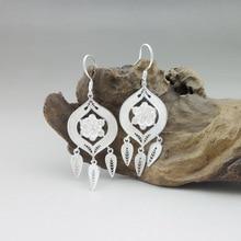 999 Sterling Silver Tassel Earrings Bohemian Drop Earing Women Ethnic Miao Silver Handmade Luxury Boho Jewelry Korean Fashion цена