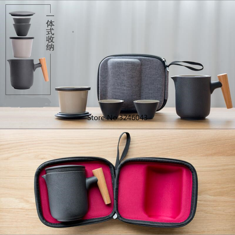 1/pcs Ceramic Quick Cup Set One Pot Two Cups Kung Fu Tea Set Teapot Portable Outdoor Storage Travel Tea Set