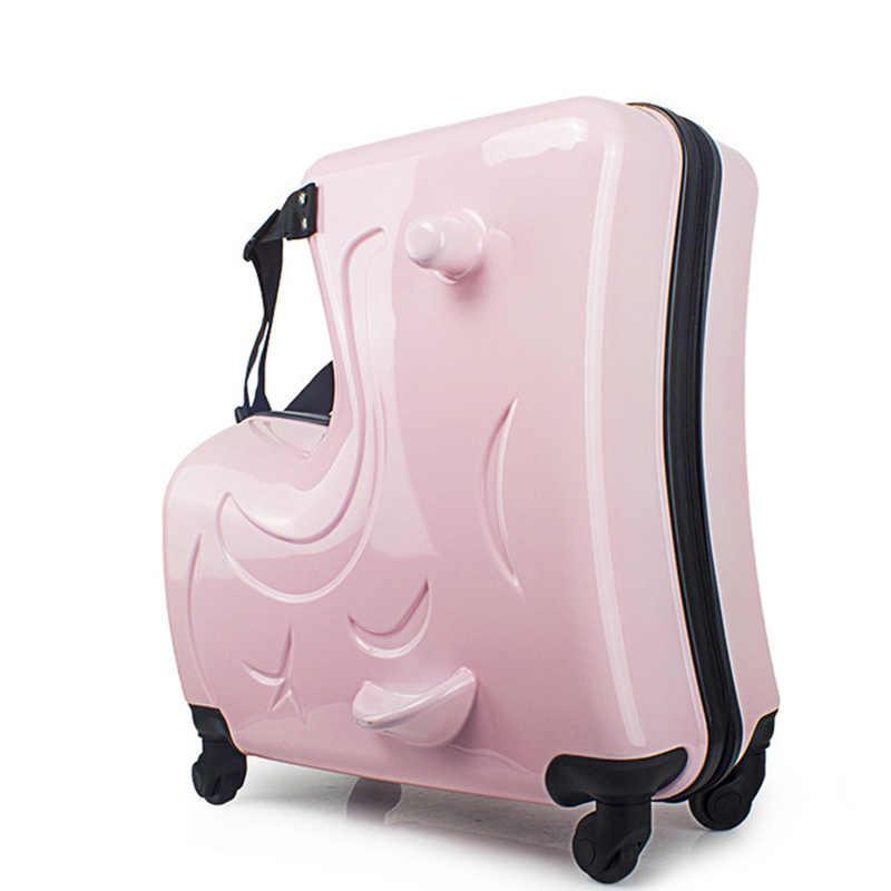 Novas crianças rolando bagagem spinner 20 polegada rodas mala crianças cabine trole estudante saco de viagem bonito do bebê carry on tronco