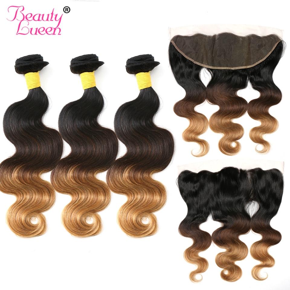 Lace Frontal Closure With Bundles Ombre Brazilian Hair Weave Bundles Body Wave Human Hair 3 Bundles With Closure 1b/4/27Non Remy
