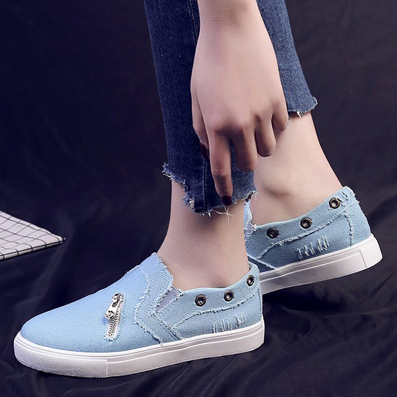 Canvas Shoes Woman Summer Plus Size 41-43 Zipper Shallow Light Weight Walking Sneakers For Women Slip-On Blue Shoes LadiesCanvas Shoes Woman Summer Plus Size 41-43 Zipper Shallow Light Weight Walking Sneakers For Women Slip-On Blue Shoes Ladies