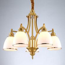 цена на Modern Copper Lamp Gift 5W E27 Led Bulb Chandelier Living Room Light Wedding Decor Home Lighting White Glass Lampshade 110-240V