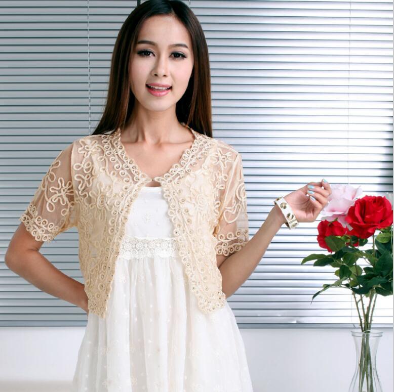 2018 Frauen Grundlegende Mantel Stickerei Band Perlen Verschönert Kurzarm Strickjacke Sehen-durch Sheer Spitze Mesh Bolero Top Jacke