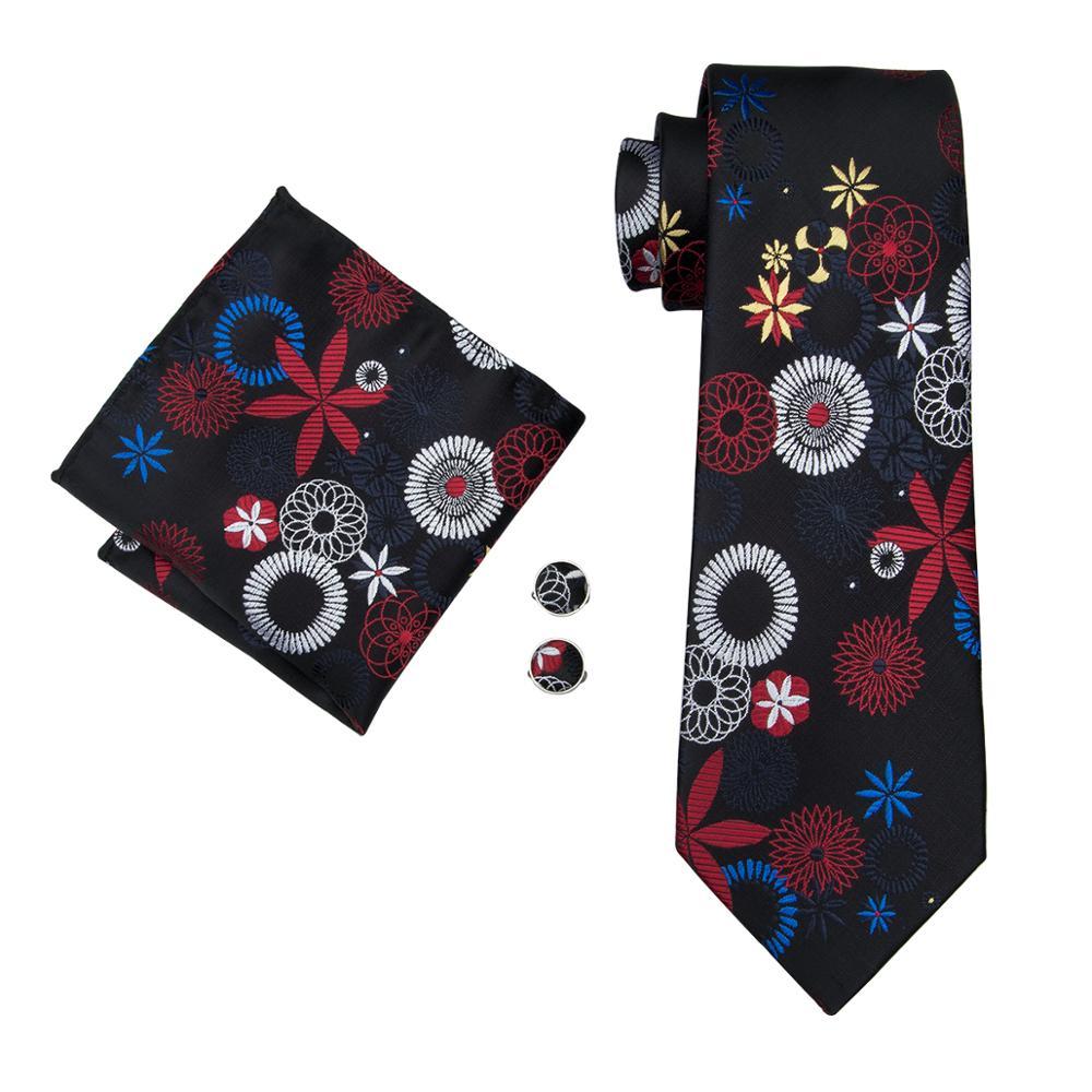 LS-1685 Barry.Wang New Men`s Silk Tie Set Gravata Black Floral Necktie Hanky Cufflink Tie For Men Wedding Business Free Shipping