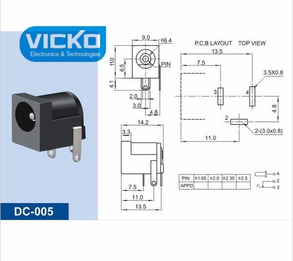 Pcs Dc Black Dc Power Jack Socket Connector Dc Mm