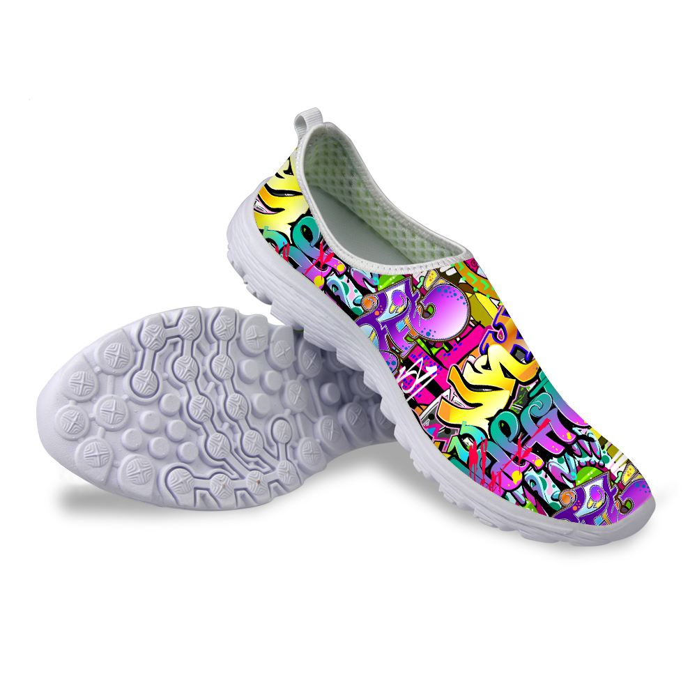 Breathable Women Casual Shoes Graffiti Printing Flat Shoes for Lady Female Trainer Soft Sole Mujer Zapatos Student Mesh Shoes free shipping candy color women garden shoes breathable women beach shoes hsa21
