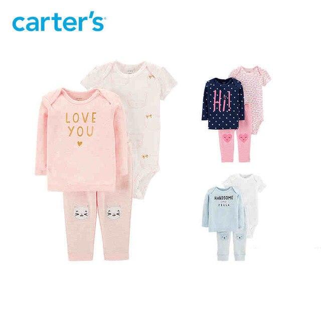 edf768ed9 Carters 3 piezas conjuntos de bebé Linda impresión suave algodón bebé niño  ropa de manga larga