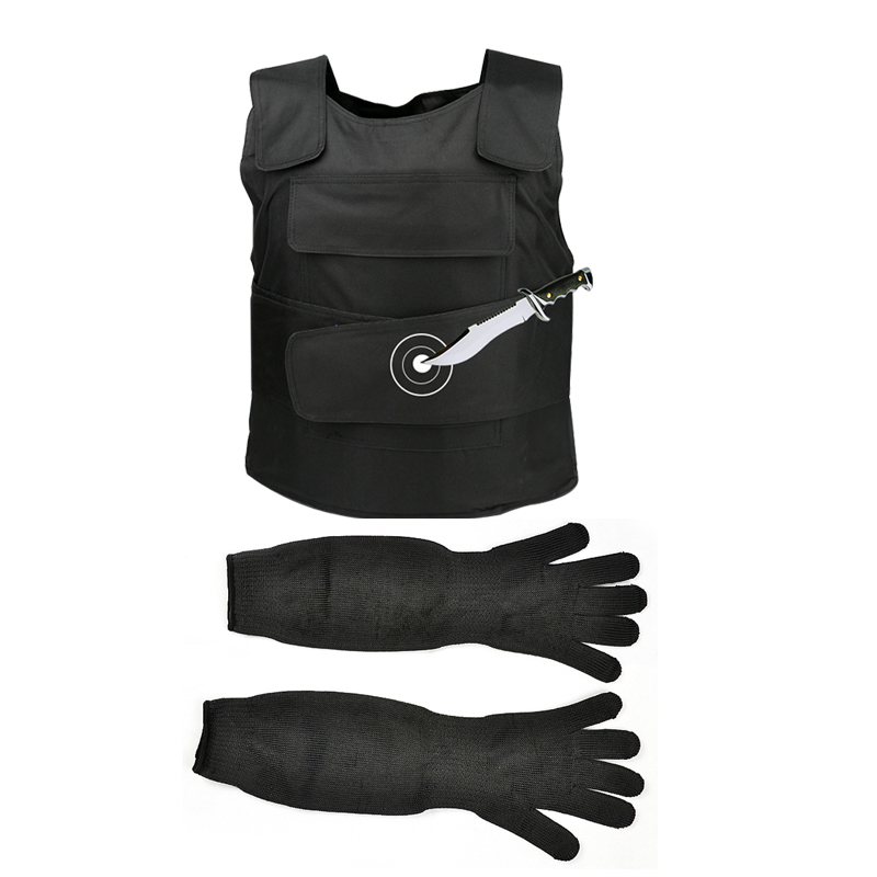 2 pcs/lot gilet tactique Anti-coupure travail Long gants extérieur sécurité couteau résistant auto-défense tungstène acier Iiner Plat