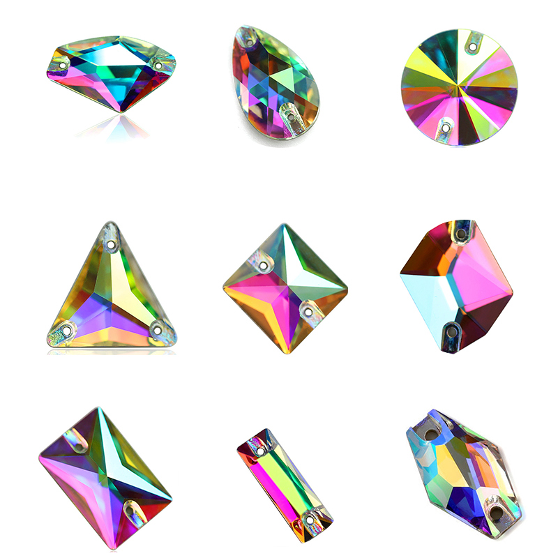 Crystal AB Large Size 4 Shapes AAAAA Quality Boutique Shape Sew On Rhinestones Sewing Beads For Dress Making Jewelry Decoration-in Rhinestones from Home & Garden