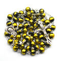Catholic rosary necklace, black and yellow bead crucifix cross 59 bead rosary