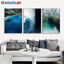 AFFLATUS Watercolor Fantastic Sea Sign Canvas Painting Modern Abstract Wall  Art Print Poster Wall Pictures For