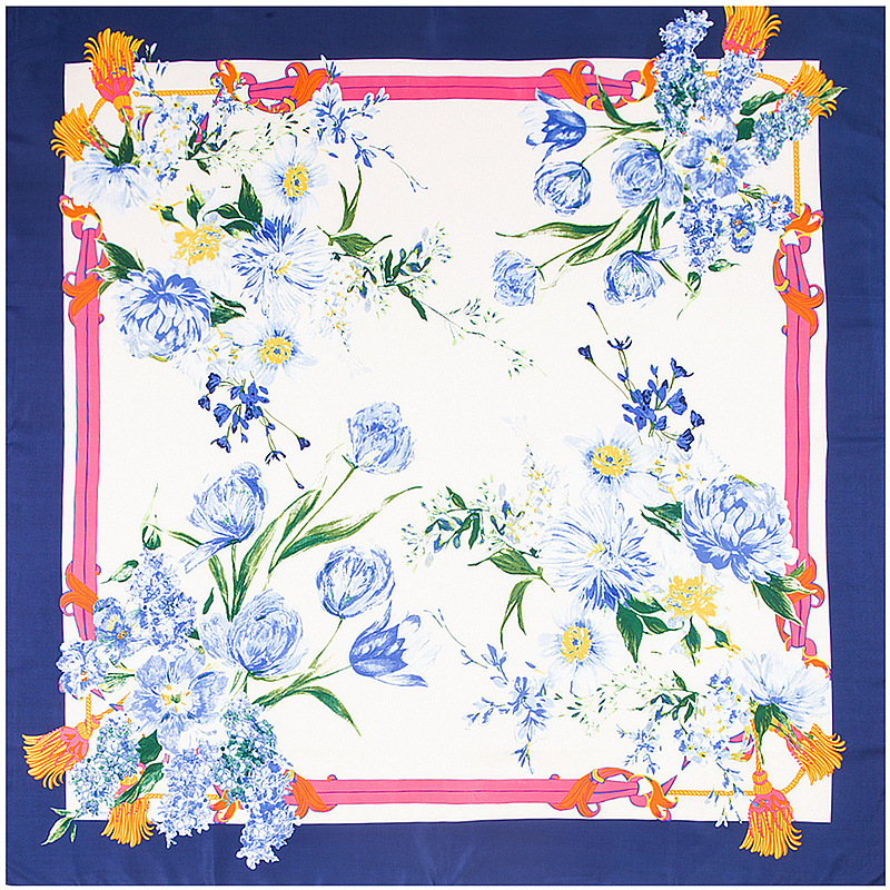 New Colors Pastoral Floral Printed Square Silk   Scarf   Luxury Brand Quality Women   Scarves     Wraps   Hijab Super Large Bandana   Scarf