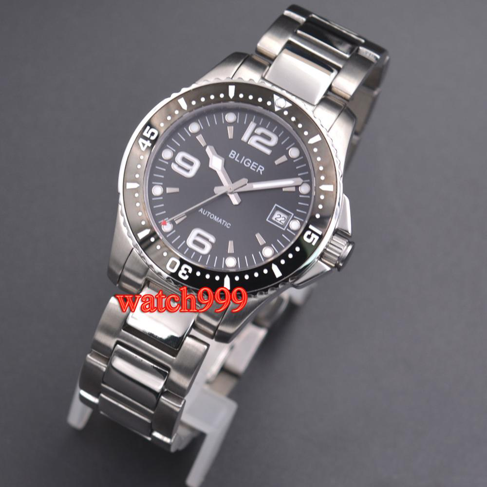 40mm bliger black dial solid case sapphire glass ceramic automatic men's luminous watch Automatic (self winding) movement