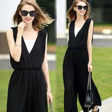 2016 Fashion Sexy Jumpsuits Ladies Loose Party Overalls Women Sleeveless Rompers Summer Chiffon Elegant Jumpsuit Black Bodysuit
