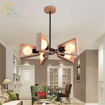 New Modern Wood Pendant Light Nordic Style Suspension Luminaire Hanging Lamp Vintage Pendant Lamp Rustic Wood Lampshade Light