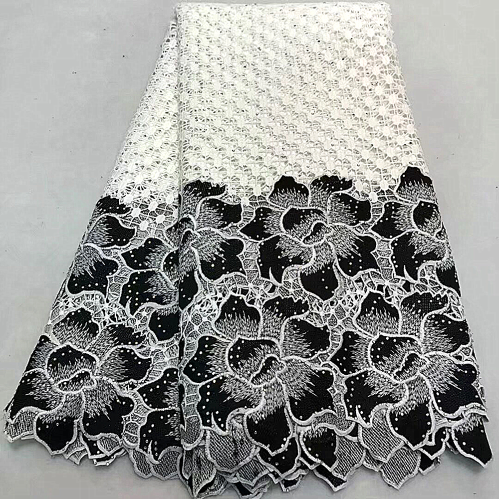 White African Lace Fabric 2019 High Quality Black French Nigerian Net Lace Fabric With Sequins Apply