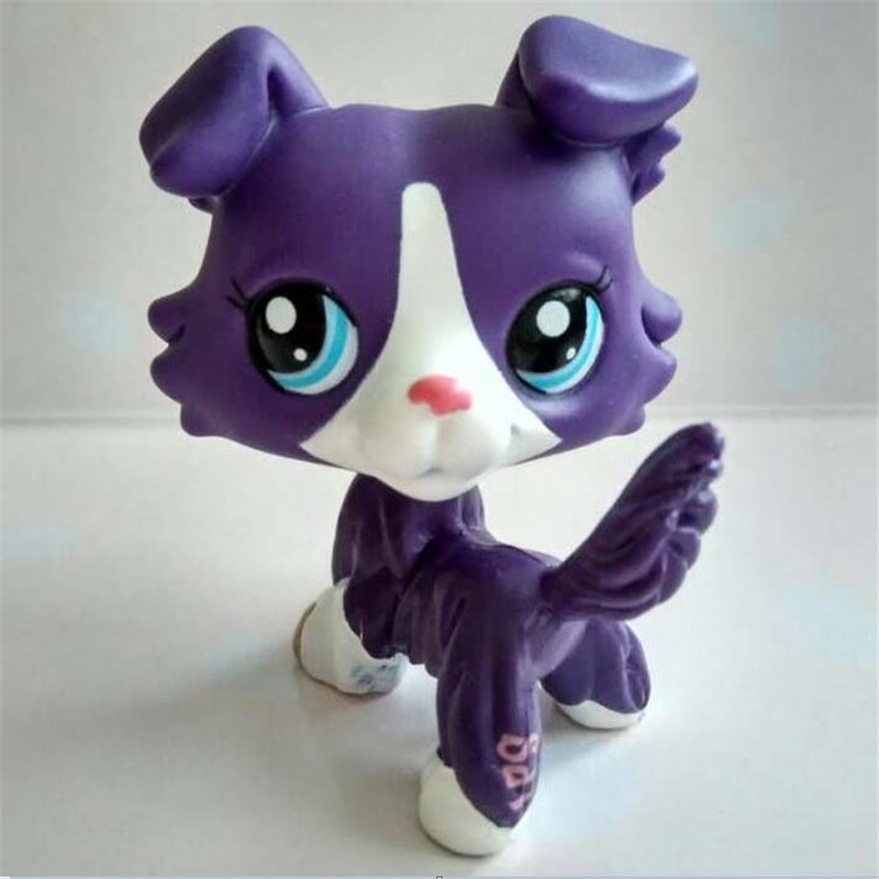lps Pet shop Dark purple Short Hair dog action figure girl's Collection classic animal pet cat toys European pet great dane pet toys rare old styles dog lovely animal pets toys lot free shipping