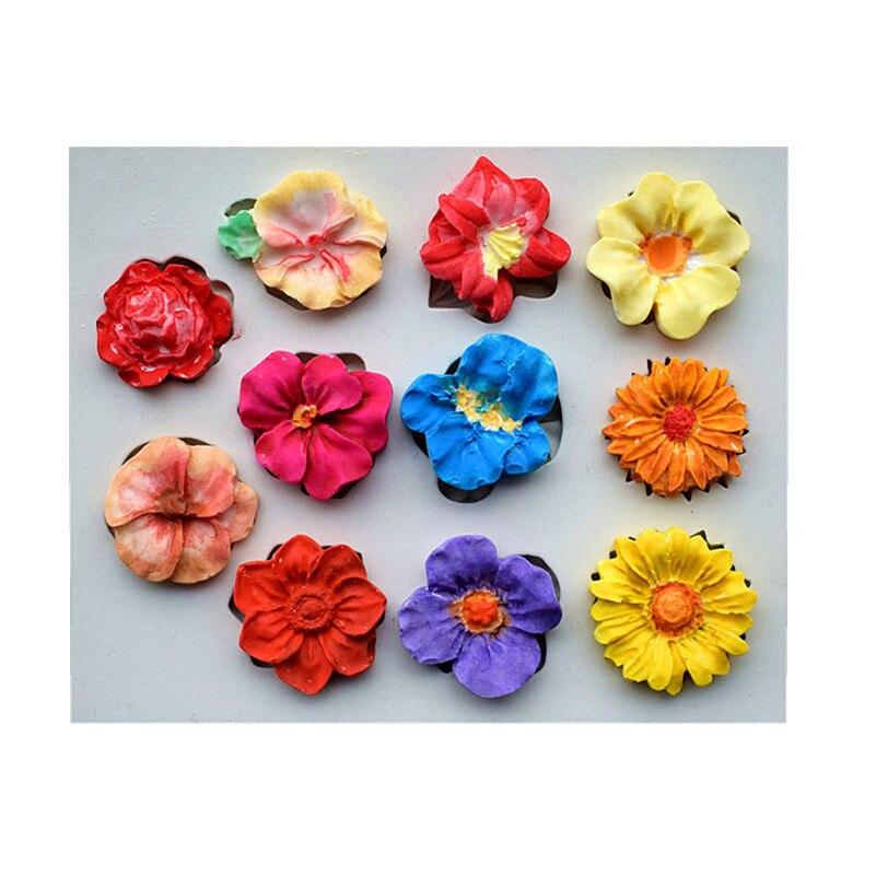 11pc různé květiny silikonové formy, DIY dort dekorace nástroje, mýdlo formy, kuchyňské doplňky SQ1706