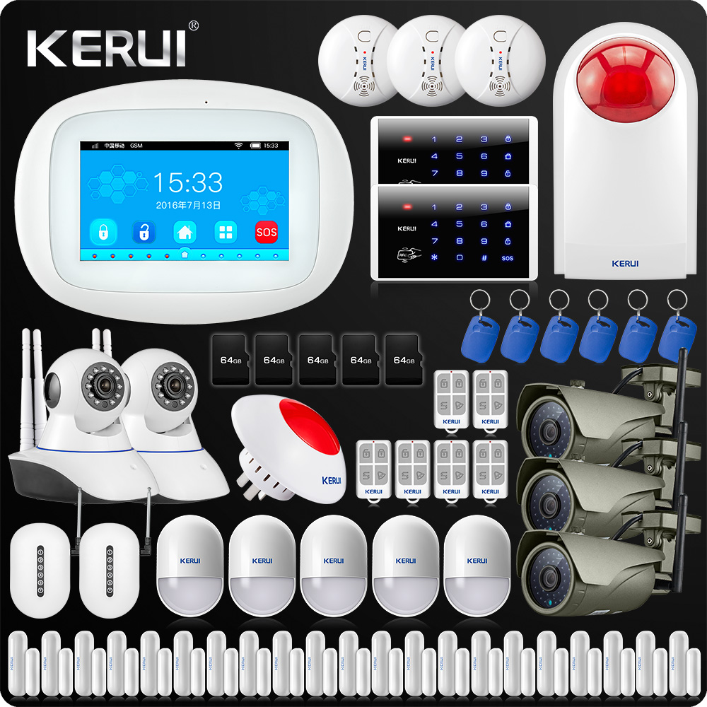 KERUI K52 4.3 Inch Touch Screen Color Screen Wireless Security Alarm WIFI GSM Alarm System APP Control WiFi Camera Smoke Sense