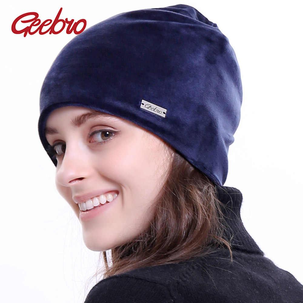 feaaebfafbde1 Geebro New Women s Beanie Hat Winter Casual Velour Warm Slouchy Beanies for Women  Female Balaclava Plain