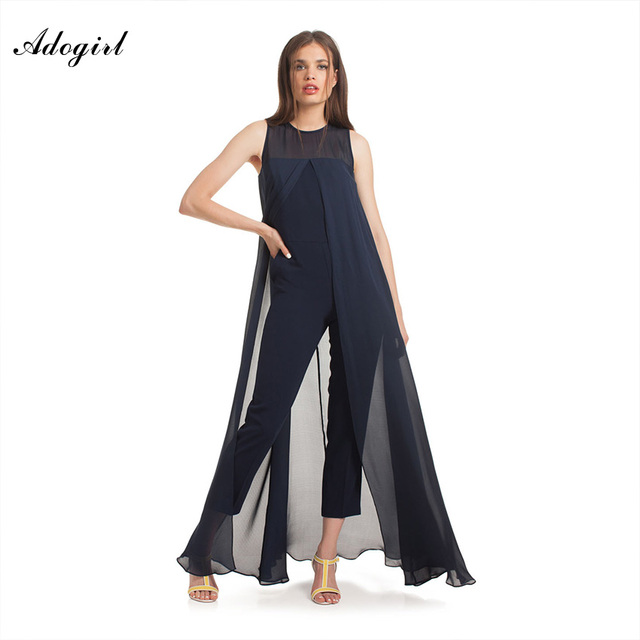 9ab7ae88c21 Adogirl Women Ladies Bodycon Jumpsuits Sleeveless Chiffon Playsuit Blue  Elegant Rompers Women Jumpsuit Overalls For Women