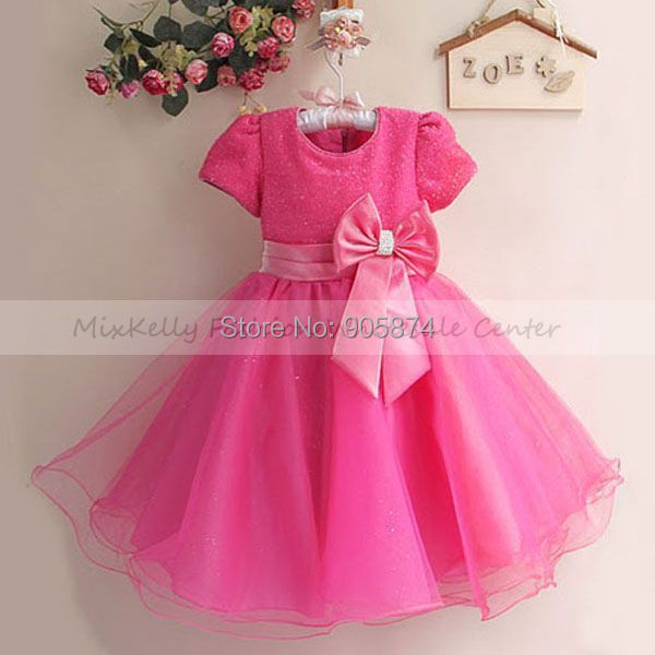 2014 hot pink Christmas party dress for children 3 4 Years, girls ...