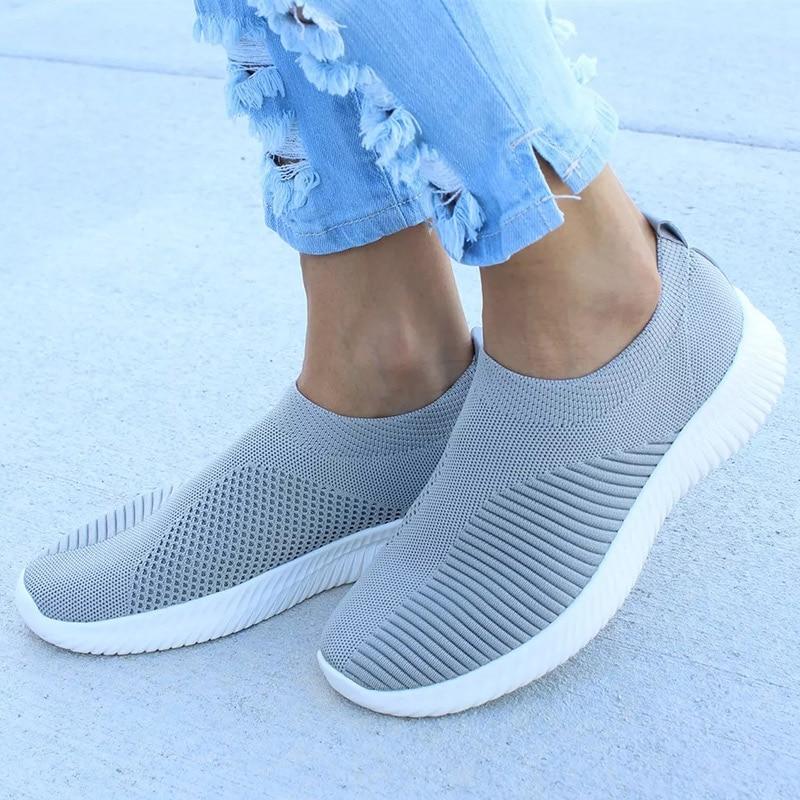 UPUPER Light Sneakers Women Breathable Mesh Vulcanized Shoes Outdoor Flat Slip-On Sock Shoes Women For Walking Plus Size 35-43 4