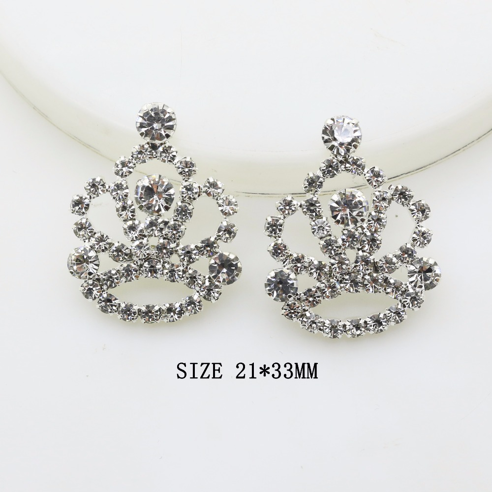 Hot Sale 10pcs 21*33mm Crown DIY Jewelry Accessories Rhinestone Pedestal Pendant Wedding Invitation Accessories