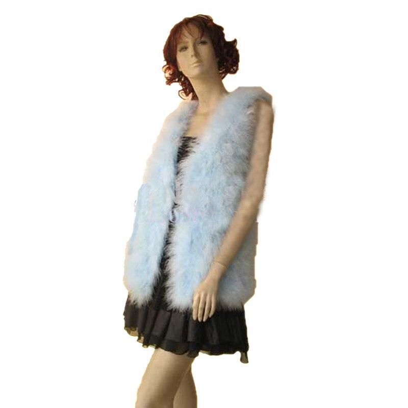 Vente en gros femmes hiver réel autruche fourrure gilet manteau femme mode fête gilet bleu clair