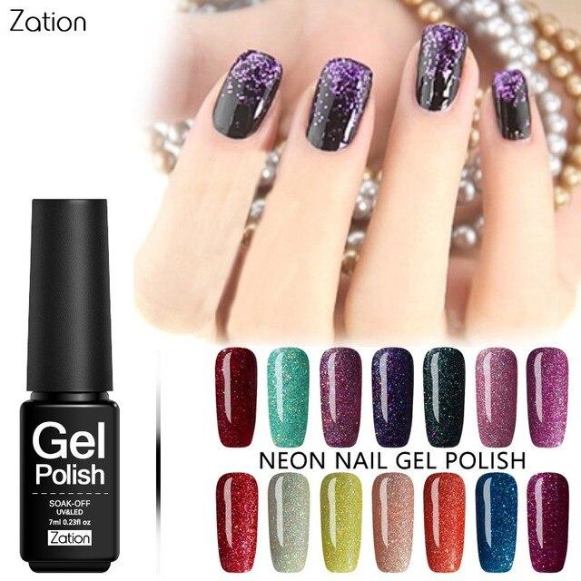 Zation Bling Neon Nail Gel Color Gel Glitter Nail Polish Shimmer Gel