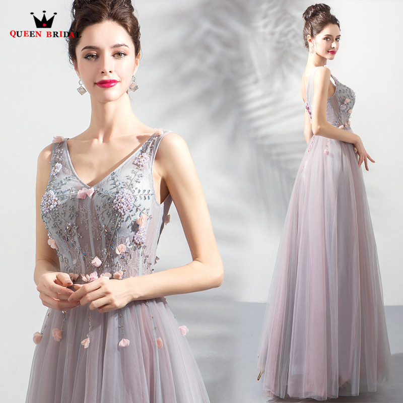 A-line V-neck Tulle Appliques Beaded Gray Elegant Long Formal   Evening     Dresses   2018 New Party   Evening   Gown Robe De Soiree MT53