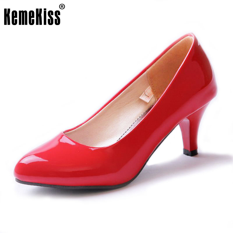 KemeKiss Size 32-45 Office Lady High Heel Shoes Women Pointed Toe Solid Color Thin Heels Pumps Party Club Wedding Women Footwear kemekiss size 33 42 women s high heel wedge shoes women cross strap platform pumps round toe casual mixed color ladies footwear