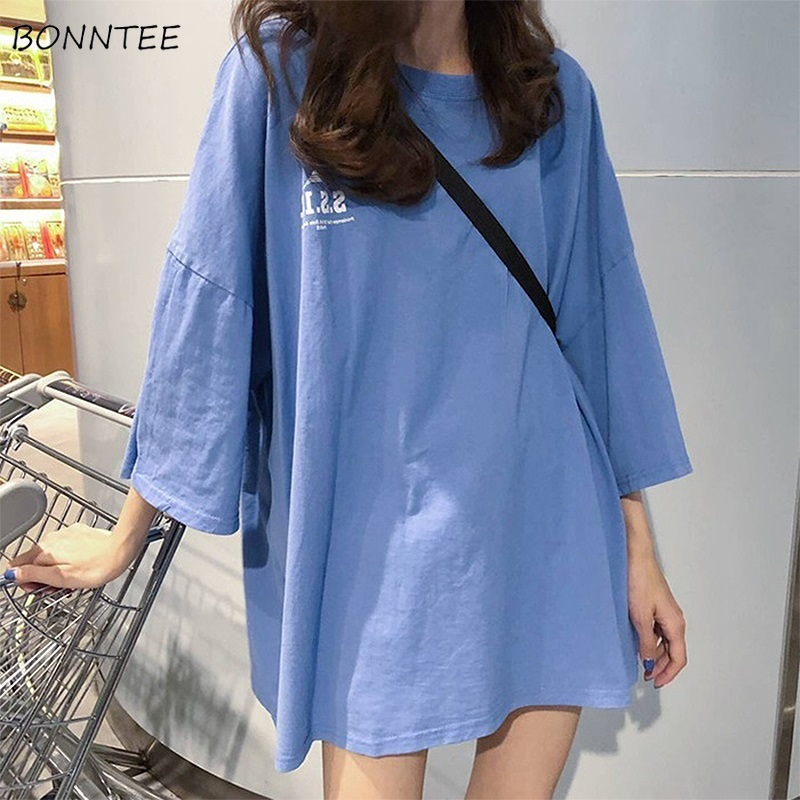 T-shirts Women Ulzzang Oversize Loose T-shirt Ladies Letter Tops Womens Letter Chic Streetwear Harajuku Student All-match Tee BF