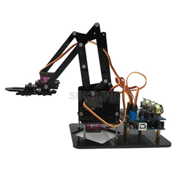 DIY 4dof Acrylic robot arm robotic claw arduino kit sg90s economy with adapter  potentiometer control learning kit ethernet cable