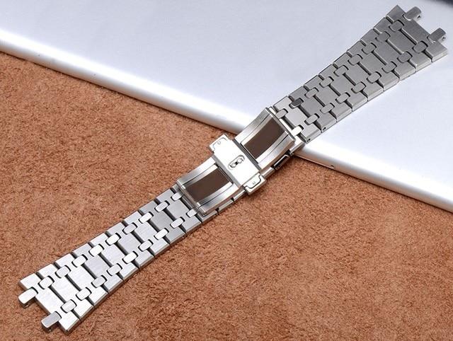 Prata ouro pulseira de aço inoxidável para audemars piguet assista fecho fivela 26mm