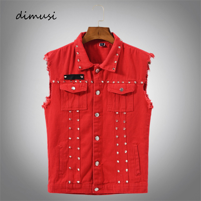 DIMUSI Autumn Mens Vest Vintage Denim Jeans Vest Male Red Revit Sleeveless Jackets Men Retor Hole Jeans Waistcoats Clothing 5XL
