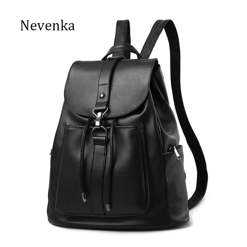 NEVENKA Women Backpack Female Black Casual PU Leather Shoulder Bag Soild Simple Style Girl School Bags Daily Back Pack Lady Bag