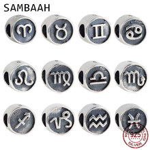 Sambaah 12 Zodiac Sign Charm 925 Antique Sterling Silver Beads fit Original Pandora Style Women Bracelet SS2887