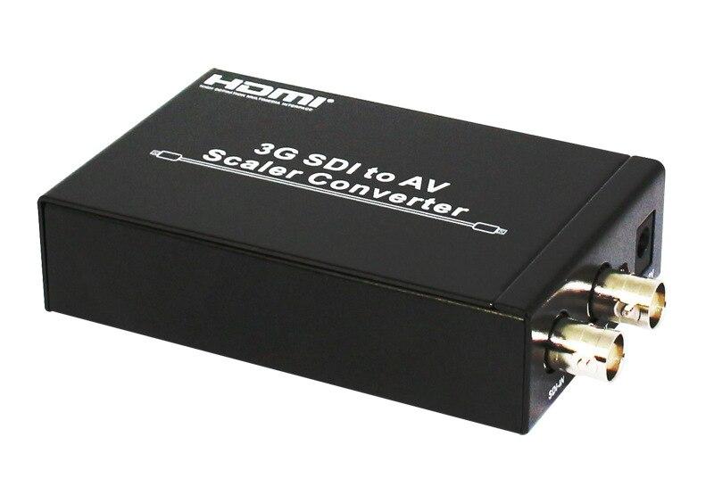 Full HD 1080p 3G SDI to AV Scaler Converter 3G/HD/SD-SDI to R/L RCA CVBS Adapter Converter for CRT HDTV Camera SDI6x10 sd sdi hd sdi signal to tv adapter hd 3g sdi to cvbs converter auto scaler support 1080p l r audio output with eu power adapter