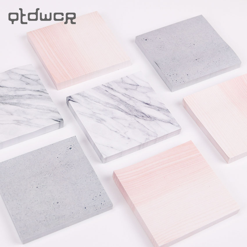 1PC Creative Marble Color Self Adhesive Memo Pad Stone Style Sticky Notes Bookmark School Office Stationery Supply image