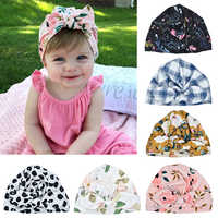 6 Color Baby Printed Rabbit Ear Hat Indian Knotted Cap 2 In 1 Multi-Function Baby Hair Accessories